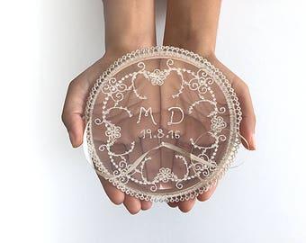 EXPRESS SHIPPING, Lace Ring Pillow, Wedding Ring Hoop, Date Ring Pillow, Personalized Ring Bearer, Monogram, Boho Wedding Gift, Initials