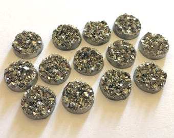 12mm Druzy Cabochons, Sparkle Gray, jewelry making kit, earring set, diy jewelry, druzy studs, 12mm Druzy, cabochon, stud earrings
