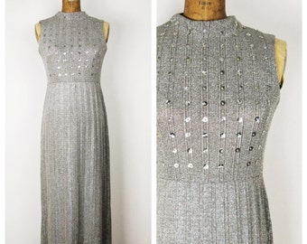 Vintage 1970s Dress / 70s Silver Knit Dress / Small to Medium