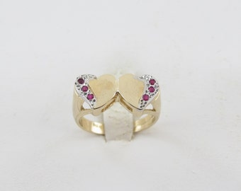 14k Yellow Gold Double Heart Shape Lovers Ruby Ring Size 6