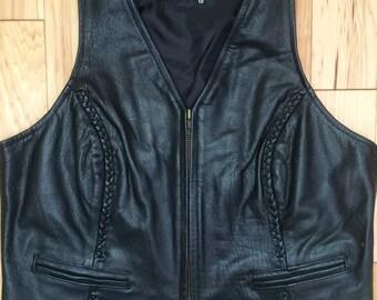 Vintage 80's 90's plus size black leather biker old lady braided vest L/XL 12