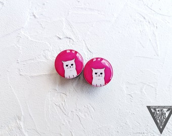 Buy2Get3 Plugs Angry cat image ear wooden plugs 4,5,6,8,10,12,14,16,18,20,22-60mm;6g,4g,2g,0g,00g;1/4,5/16,3/8,1/2,9/16,5/8,3/4,7/8,1 1/4,1""