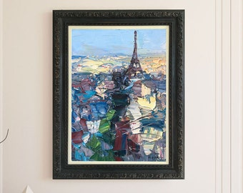 Paris Painting Oil Painting on Canvas Eiffel Tower Painting Abstract Painting Impressionist Painting Cityscape Painting Paris Wall Art Gift