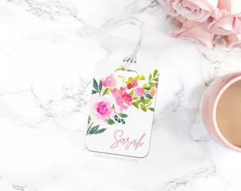 Floral Luggage Tag, Personalized Luggage Tag, Monogram Luggage Tag, Custom Luggage Tag, Diaper Bag Tag, Gym Bag Tag, Pink Bag Tag