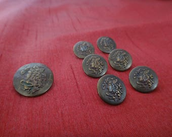 Vintage Pendleton Medusa Buttons/ Brass Medusa Buttons/ Replacement Buttons