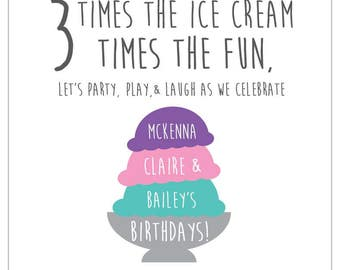 Ice Cream Social Birthday Party Invitation for multiples