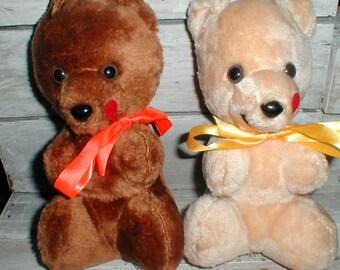 Two Vintage AJean Toy Co Plush Bears *Carnival Prizes*