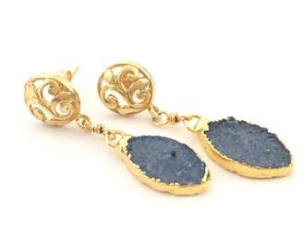 Dark Blue Druzy Gold Dangle Earrings