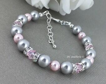 Pink and Grey Bracelet, Pearl Bracelet, Swarovski Bracelet, Bridesmaid Bracelet, Bridesmaid Gift, Blush Wedding Wedding 2017