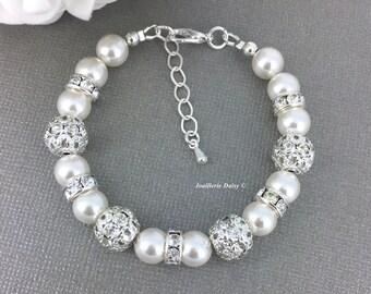 Swarovski Pearl Bracelet, Pearl Jewelry, Bridesmaid Bracelet, Bridesmaids Gift on a budget, White Pearl Bracelet, Rhinestones Bracelet
