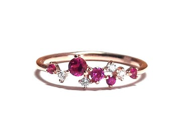 Ruby Ring-Gold Ring-Diamond Ring-Rose Gold Ring-925K Silver Zirconia Handmade Ruby Ring