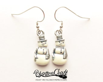Pearl White Snowman Earrings - Silver Snowman Jewelry - Christmas Earrings - Christmas Jewelry - Holiday Jewelry - Holiday Earrings