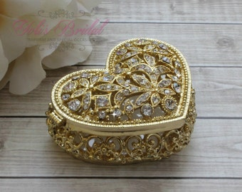 FAST SHIPPING!! Beautiful Heart Shape Swarovski Crystal Box, Wedding Ring Box, Wedding Arras,