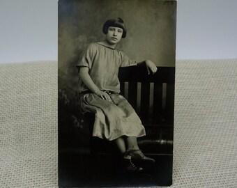 Antique Girl Photo Postcard