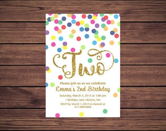 Rainbow Gold 2nd Birthday Invitation Girl, Any Age Rainbow Dots and Gold Girl Second Birthday Invitation TWO, Polka Dot Printable JPEG 852