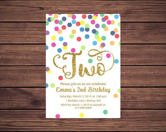 Rainbow Gold 2nd Birthday Invitation Girl, Any Age Rainbow Dots and Gold Girl Second Birthday Invitation TWO, Polka Dot Printable JPEG P