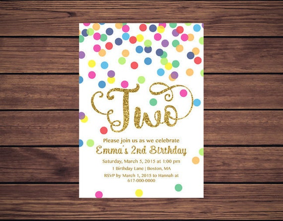 Rainbow gold 2nd birthday invitation girl any age rainbow dots il570xn stopboris Image collections