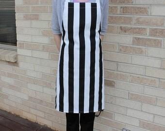 Black and White Stripe Apron