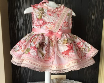 pink fairy baby girl dress, toddler cute easter outfit , summer unique girl frock , spanish handmade childrens stylish birthday clothing