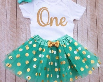 Mint and gold first birthday outfit One year old outfit Mint and gold 1st birthday outfit Mint and gold tutu Baby girl first birthday outfit
