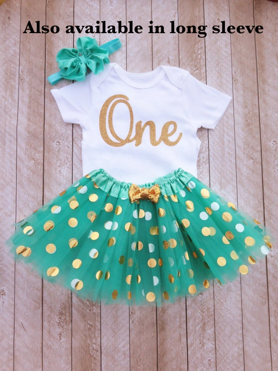 Mint And Gold First Birthday Outfit One Year Old Outfit Mint