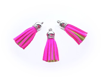 Tassels - Small Tassels For Jewelry - 10 or 25 Neon Pink and Bright Green - Two Color Tassels - Decorative Tassels For Handbags - TC-S223