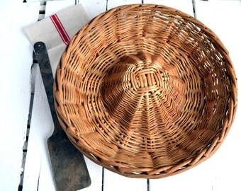 Vintage French Boulangerie Bread Proving Basket Rustic Bakers Wicker Basket