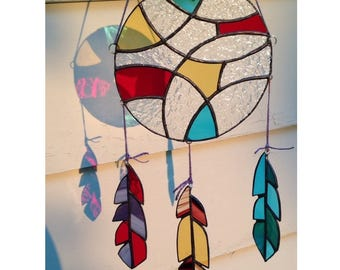 Custom Colors Stained Glass Dream Catcher Suncatcher Wall Hanging Home Decor