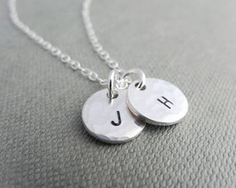 Hammered silver necklace, hammered initial necklace, silver disc necklace, stamped initial necklace, personalised silver necklace for women