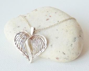 Sterling Silver Heart Pendant Necklace Vintage Engraved Leaf Pendant Necklace, Sterling Chain Necklace 925 Retro Necklace, Sterling Jewelry