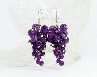 Amethyst earrings Purple earrings Cluster earrings Statement jewelry Christmas gifts for sister birthday gifts for girlfriend gift women