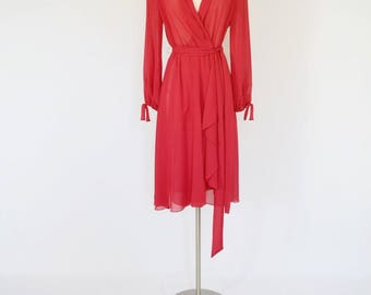 VTG Miss Eliette Red Sheer Wrap Dress with Waterfall Hem