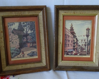Vintage Set of 2 San Francisco Sights, Pair of Framed Pictures of Chinatown & Japanese Tea Garden, California Travel and Architecture ~