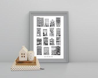 Houses of New York print Cityscape, A4 Art Print, New York print, Baby print, Black and White print, New York buildings, USA, America, NY