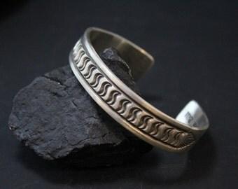 Rare Sterling Silver Signed DARIN BILL Native American Cuff Bracelet