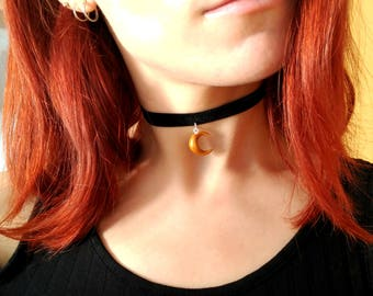 Gold Moon Black Choker or Garnet Golden Moon Grunge Kawaii handmade Sailor moon polymer clay