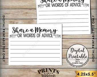"""Share a Memory or Words of Advice Graduation Advice, Write a Memory or Advice Card, Graduation Party, 8.5x11"""" Printable Instant Download"""