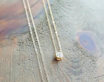 Mini Diamond Necklace, Dainty Gold Necklace, Minimalist Necklace, Layering Necklace, CZ Diamond Necklace, Layering  Necklace, Cubic Zirconia