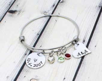 Personalized Date Bracelet - Hand Stamped Date Bracelet - Anniversary Date Bracelet - Anniversary Gift for Her - Mother's Day Gift