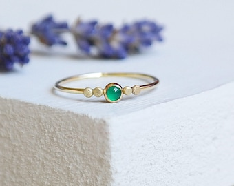 Emerald Ring, Gold Emerald Ring, Birthstone Ring, 9ct Gold Ring, Emerald Gold Ring, Stacking Ring, Dainty Ring, Solid Gold, May Birthstone