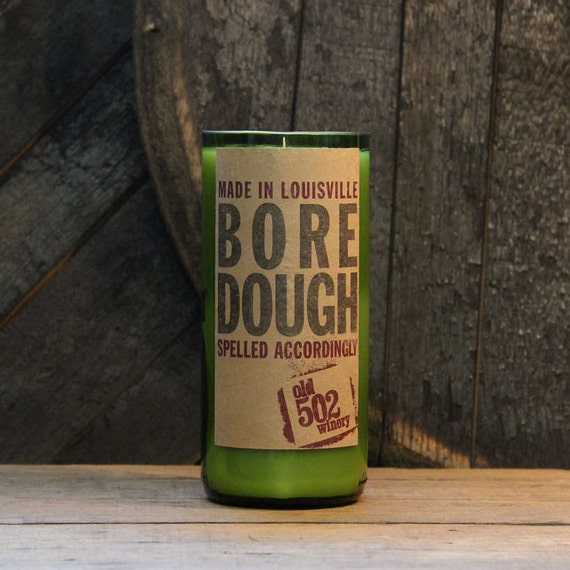 Upcycled Wine Candle - Bore Dough Recycled Wine Bottle 22 oz. Soy Candle Handmade Local KY Winery Old 502 Bottle