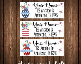 Americana Labels, Patriotic Labels, Fourth of July Labels, Patriotic Address Labels / Mailing Labels