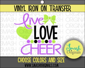 Live Love Cheer Vinyl Iron On Transfer, Cheer Iron on Decal for Shirt