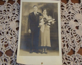 Antique photo Bride and Groom, Married Couple, Antique Wedding Photograph, Vintage Couple, Antique Photograph  1900s, Wedding Portrait