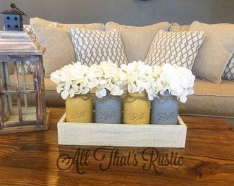 Yellow and Gray, Mason Jar Centerpiece, Rustic Home Decor, Mason Jar Decor, Rustic Centerpiece, Planter Box Set, Rustic Decor, Housewarming