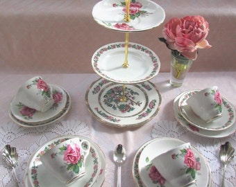 3 Tier Vintage Cake Stand and Trio set - mismatched