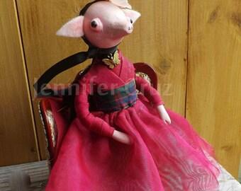 Gothic art doll, creepy cute doll,pig,anthropomorphic doll