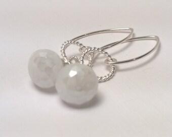 Sterling Silver Earrings, AAA Pearl White Quartz Faceted Onion Briolette, Long, Dangle, Twisted Link, Wire Wrap, Fancy Ear Wire