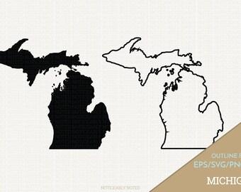Michigan Vector, State Clipart, MI Clip Art, Michigan SVG, State PNG  (Design 13735)