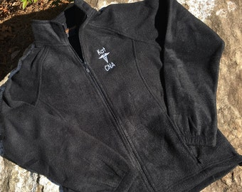 Personalized CNA Jacket - RN Jacket - LPN - Black Fleece Jacket